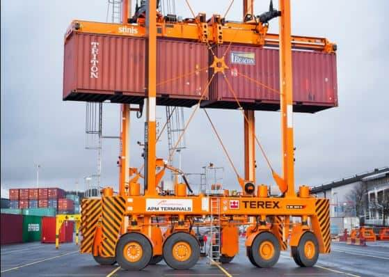A Shipping Container On A Crane