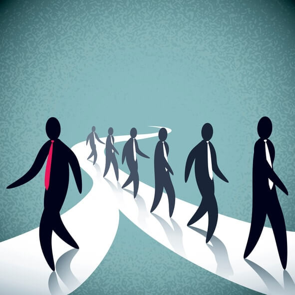Simple Illustration Of Businessmen Walking In Different Path. Everything Is Organised In 2 Layers.